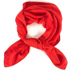 Christian Dior Vintage Red Pola Dot Silk Scarf